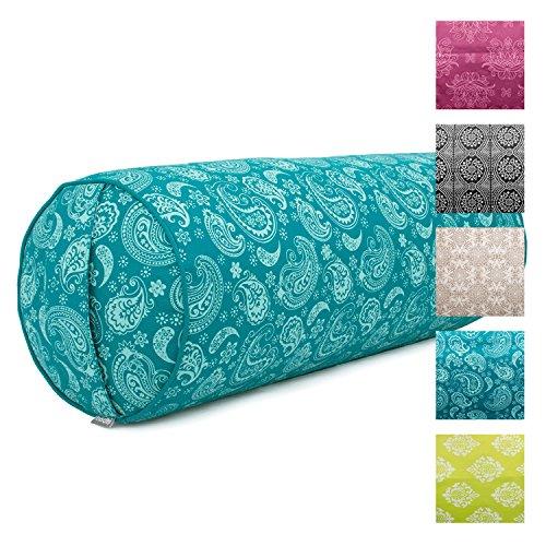 "Yoga-Bolster ""Paisley"", petrol, Maharaja Collection, Dinkel-Füllung, Bezug aus 100% Baumwolle (Köper), abnehmbar, 65 cm, 23 cm Durchmesser"