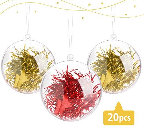 ABSOFINE 20 stück Acrylkugeln 10cm Transparente Weihnachtskugeln mit Schneeflocken - Perlenfaden - Rosa & Weiß Federn Transparente Hängender Kugel Durchsichtig Christbaumkugeln Ostern Hochzeits Deko