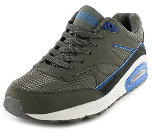 Airtech New Boys/Kids Grey Legacy Lace UPS Running Trainers. - Dark Grey/Blue - UK Size 6