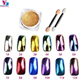 6 : 2g/box Shinning Mirror Effect Fine Nail Glitter Powder Sequins Dust Chrome Pigment DIY Nail Art Decorations Make Up 12 Color New