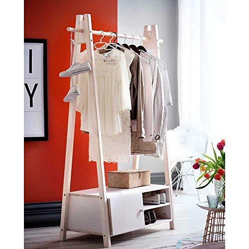 Pharao24 Garderobenständer in White Wash Fichte Massivholz