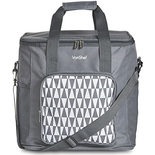 VonShef 30L Picnic Cool Bag - With Insulated Lining - Geo Grey