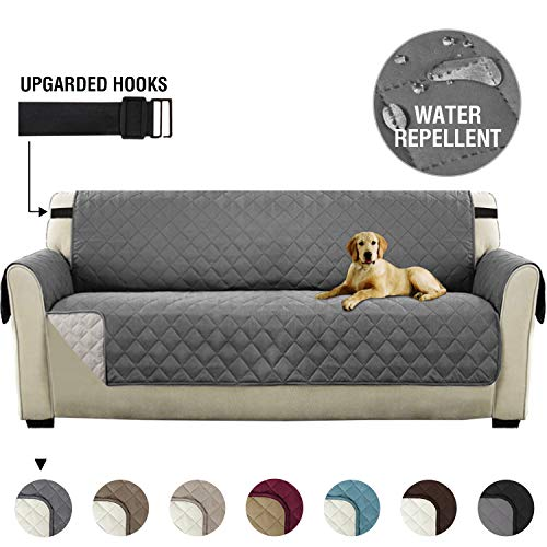 H.versailtex copridivano poltrona impermeabile divano protector mobili coperture su due lati per cani/gatti letto con divano slipcovers 218 x 198cm, grigio