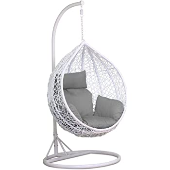 Charles Bentley Hanging Rattan Swing Chair With Floral Pattern and Cushion Outdoor Garden Patio Furniture Sand