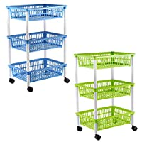 axentia kitchen trolley with 3 baskets, trolley on wheels, in green, blue (assorted colors), plastic, 1 pack