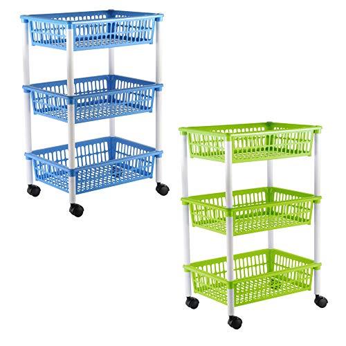 Axentia carrello con 3 cestini con ruote, scaffale a 3 ripiani in plastica mobile cucina cantina, carrello con rotelle a 3 scomparti, ca. 40 x 64 x 30 cm