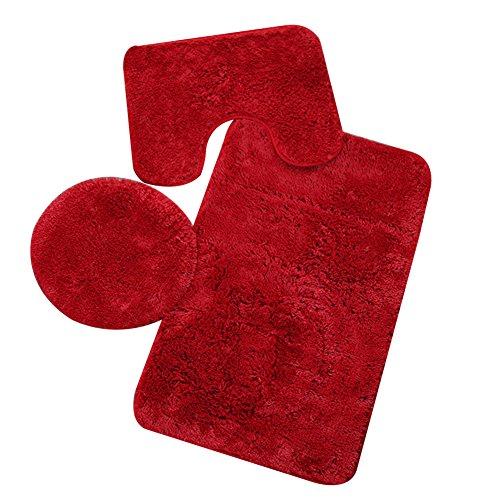 Etbotu rutschfester Badezimmer-Teppich, 3-teiliges Set, O-förmiger WC-Deckelbezug, U-Form-Matte, rechteckiger Teppich, rot, 50 x 80 cm