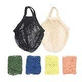 RETON Borsa Riutilizzabile Intrecciata in Rete per Shopping a Stringa in Cotone Organico (Bianco+Nero+4 Multicolore)