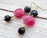 Pendientes de jade fucsia y agata negra, pendientes largos colgantes, pendientes para mujer, joyas modernas, joyas piedras preciosas