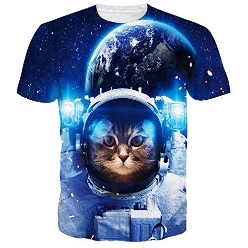 5af1cc5ce4e2 RAISEVERN Unisex Summer 3D Animal Cat Stampato Cool T Shirt Tees B-Boys  Clothes