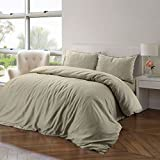 Hotel Quality Luxury Soft 100% Pure Natural Flax Fibre Linen Blend Linen Quilt Duvet Cover Set with Pillowcases – Double – Natural