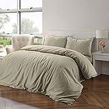 Nimsay Home - Set di biancheria da letto in lino cotone, con copripiumino., Cotone lino, Natural, Super King