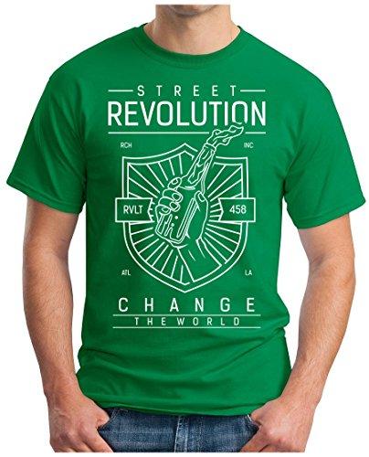 OM3 - STREET-REVOLUTION - T-Shirt CHANGE THE WORLD GOSSIP PACER DAILY STREET NEWS MUSIC GEEK Grün