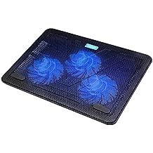 Tecknet Raffreddamento Notebook Cooler Base di Ventola PC Portatile Raffreddamento Appoggio Cooling Stand con 3 Ventole a LED e 2 porte USB 12