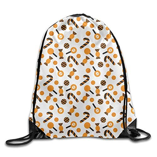 FTKLSS Lightweight Foldable Large Capacity All Kinds of Candy Halloween Pattern Drawstring Bag Backpack String Bags (17
