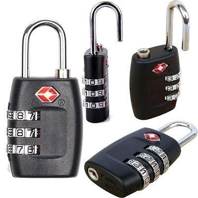 NEU 2STÜCK Sicherheit Vorhängeschloss [Koffergurt Kombination] Travel Koffer Gepäck Bag Code Lock Schwarz Farbe, [inculded gratis Reinigungstuch] -