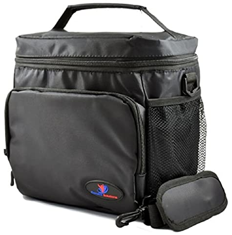 Large Insulated Lunch Bag Double-Sewn Nylon Zipper Closures with Large Side Pockets Carry Handle and 48 Shoulder Strap (Large, Black)
