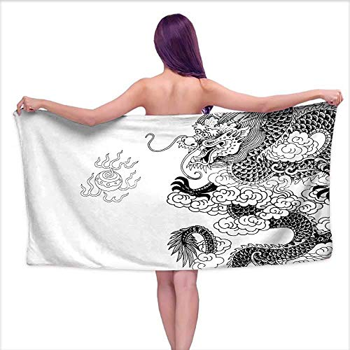 Ancient China Soft Luxury Bath Sheet Set Three-Part Asian Horizontal Banner Sketch of Pagoda Sakura Branch and Lotus Bath Towel 3D Digital Printing Set W 30