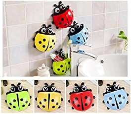 Dr Gadgets Cute Cartoon Ladybug Kids Wall Suction Cup Mount Toothbrush Toothpaste Holder Pencil Pen Container Box Travel Organizer Plastic Pocket Storage Organizer