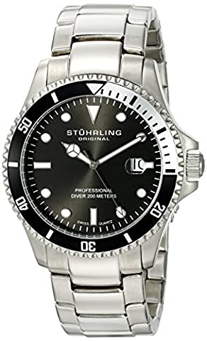 Stuhrling Original Men's Quartz Watch with Black Dial Analogue Display and Silver Stainless Steel Bracelet
