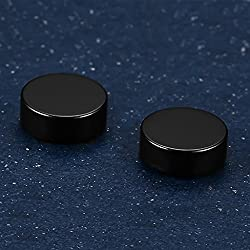 Generic Black Stainless Steel Round Magnetic Stud Earrings For Men And Women