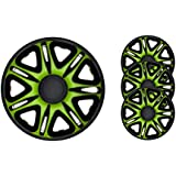 4pc Set Wheel Trims Wheel Covers Hub Caps BARRACUDA NASCAR GREEN-BLACK 15 inch