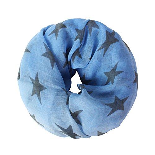 Glamexx24 Loop schal leichter Langschal mit Sterne Muster Schlauchschal Tuch Viele Farben SC20170402