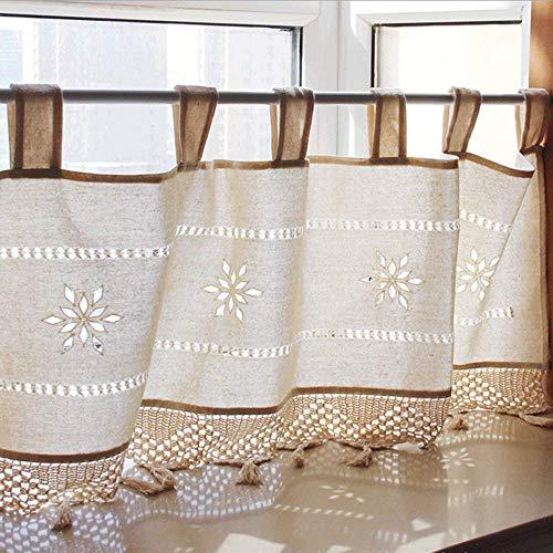 Descripción del Producto Tasa de sombreado 40% .Diseño bolsillo de fácil de colgar ,diseño de encaje exquisito. Estilo nordico,efecto de empalme tela es muy buena, y la adición de un sentimiento hermoso e idílico para su casa. La mitad de las cortina...