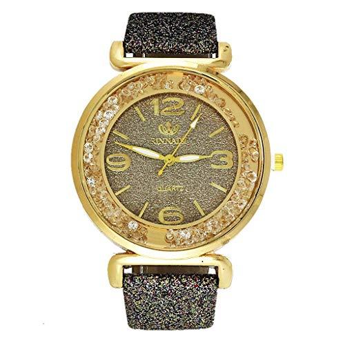 DOSNVG Womens Crystal Quartz Watches, Numeral Analog Female Wrist Watch, Round Shiny PU Leather Wristwatch for Women -