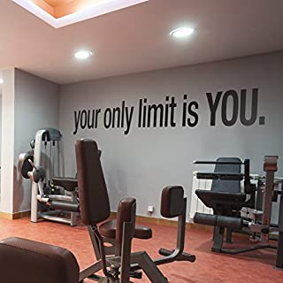 Gym Wall Decals (59 x 6.69 inches - 150 x 17 cm, Motivational Quotes Stickers Gym Wall Decor)