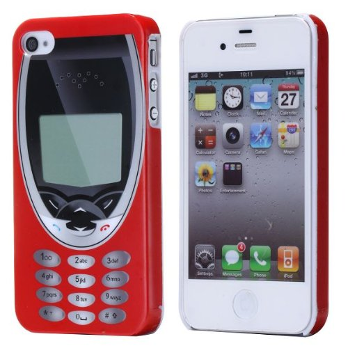 The fly shop - Cover per Iphone 4 e 4s / Custodia in plastica rigida con vecchio telefonino rosso