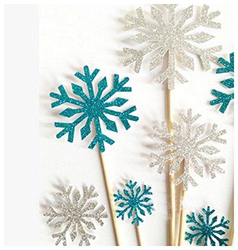 Vincenza Kuchen-Dekor, 10 Stück,herzförmige Kuchendekoration auf Zahnstochern, Hochzeits-Dekoration, Silber oder blau blau
