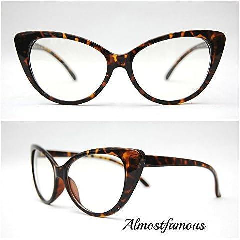 Tortuga marco Cateye lente transparente VTG 50s/60s estilo para mujer diseño de ojo de gato gafas de sol retro gafas lente transparente gafas mundo ojo