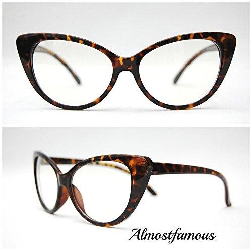 Schildkröte Frame Cateye CLEAR LENS VTG Stil der 50er/60er Damen Cat Eye Sonnenbrille Retro Rockabilly Brille Clear Lens