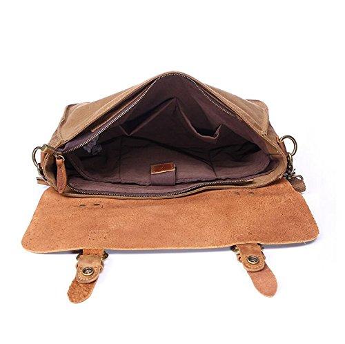 LF&F Messenger Bag FüR Schule College Arbeit Schulter Sitzung Tasche Leinwand / Leder Handtasche Taschen-Tasche Wasserdichte Multi-Pocket Laptop Cross Body Freizeit Outdoor Sport A
