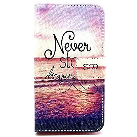 Coque Nokia Lumia 635 - Housse en Cuir pour Nokia Lumia 630 635 étui Case Cover Coque Bookstyle avec Fonction de Support (Ne jamais arrêter de rêver)