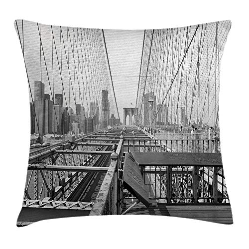 (WYICPLO Modern Throw Pillow Cushion Cover, Vintage View of Brooklyn Bridge in New York City Mechanic USA American Print, Decorative Square Accent Pillow Case, 18 X 18 Inches, Black and White)