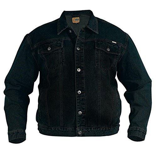 Duke Rockford Herren Große King Größe L Jeans Trucker Jacke Klassische Western Stil Mantel Top - Schwarz, XXXXXL