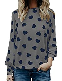 LEvifun Clearance Women Tops Lady Cotton Love Heart Printed Valentine's Day Gift Girlfriend Gift Long Lantern Sleeve Tops Blouse Shirt On Sale