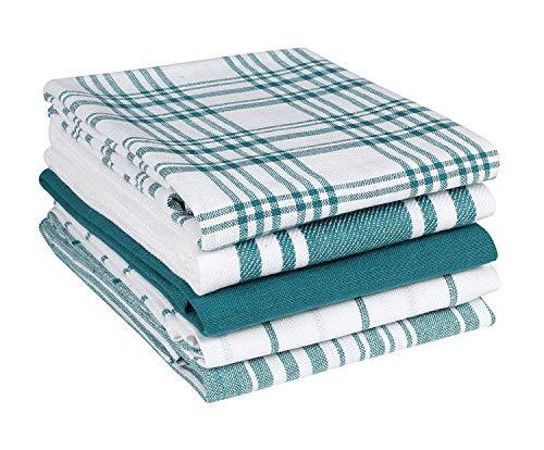 clinica di cotone set di 5 strofinacci, lavabili in lavatrice strofinacci cucina cotone, 40 x 70 cm strofinacci asciugapiatti assorbenti - verde bianchi