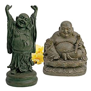Design Toscano Sanctuary Asian Decor Statue, Set of Two, Jolly Hotei and Laughing Buddha, Polyresin, Bronze Verdigris Finish