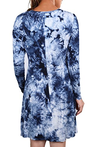 Uideazone Damen Tie Dye T-shirts Kleid Casual Langarm a-Linie Kleider Bluse Top Navy Blau