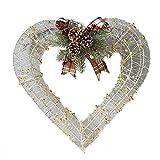 VNEIRW Weihnachtskranz Beleuchtet,Schmiedeeiserne Tür hängen mit Bogen und Kieferkegel,Girlanden Weihnachtsdeko Türkranz Deko-Kranz (A, L)