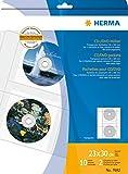 Herma 7682 CD-/DVD-Hüllen für DIN A4 Ringbücher und Ordner (230 x 300 mm, PP-Folie transparent) 10 Stück für 20 CD/DVD, inkl. Papierhüllen weiß