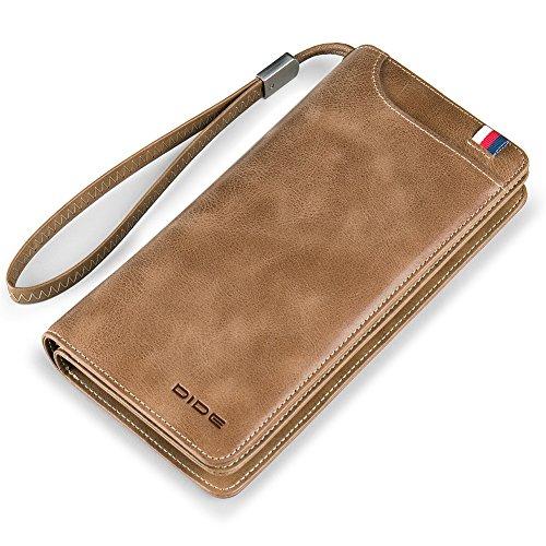 DIDE Herren Clutch Bag Handtasche lange Brieftasche Business Leder Geldbörse Geld Clip Reißverschluss Handytasche (Khaki) (Badge Geldbörse Geld-clip)