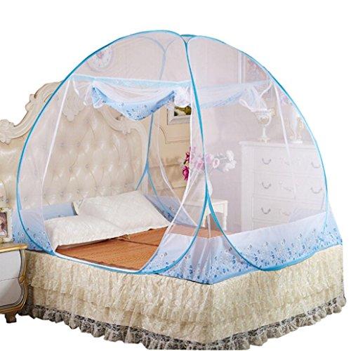 Pop Up Moskitonetze, Zarupeng Faltbare Mückennetz Bettnetze Baldachin, 3 Größen Einzel oder Doppelbetten, Fliegennetz für Reise Outdoor Indoor (L(180*200*160CM/W*L*H), Blau)