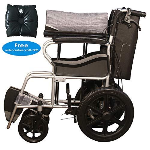 Ryder Wheelchair Lightweight Foldable Attendant Wheelchair with Seat Belt - Grey