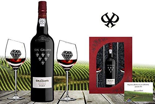DAS Portwein Geschenk-Set | GRAHAM's Six Grapes Reserve inkl. 2 geschrägten Sommelier-gläsern | Das Luxus Geschenk für Portwein-freunde | Der bessere LBV Late Bottled Vintage