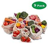 Roleadro Gemüsebeutel Baumwolle Stoff Obstbeutel Wiederverwendbar 9er Set Waschbar mit Kordelzug Gewichtsangabe, Gemüsenetze Beutel,2XS,2xM,2XL Brotbeutel 1xS,1xM,1xL
