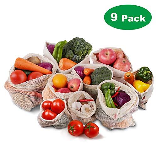 Roleadro Wiederverwendbar Gemüsebeutel, 9er Set Baumwolle Stoff Obstbeutel mit Kordelzug Gewichtsangabe Gemüsenetze Waschbar Veggie Bag Eco Mehrweg Obst Beutel und Brotbeutel (Größte Abfall-taschen)